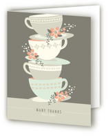 This is a sand bridal shower thank you card by Angela Marzuki called Time for Tea with standard printing on strathmore in standard.