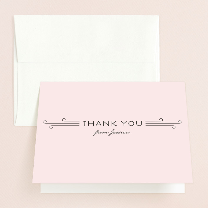 """""""Bliss"""" - Modern, Bold typographic Bridal Shower Thank You Cards in orange by Serenity Avenue."""
