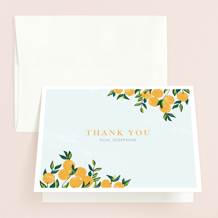 """Orange Tree"" - Whimsical & Funny Bridal Shower Thank You Cards in blue by Monica Schafer."