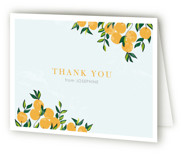 This is a sky bridal shower thank you card by Monica Schafer called Orange Tree with standard printing on strathmore in standard.
