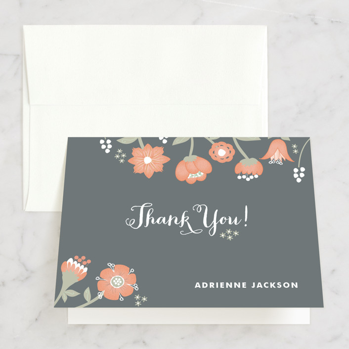 """Garden Whimsy"" - Floral & Botanical, Whimsical & Funny Bridal Shower Thank You Cards in pink by Wendy Van Ryn."