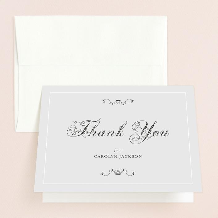"""Formal Fleur"" - Bridal Shower Thank You Cards in grey by Wendy Van Ryn."