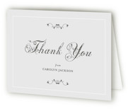 This is a dove grey bridal shower thank you card by Wendy Van Ryn called Formal Fleur with standard printing on strathmore in standard.
