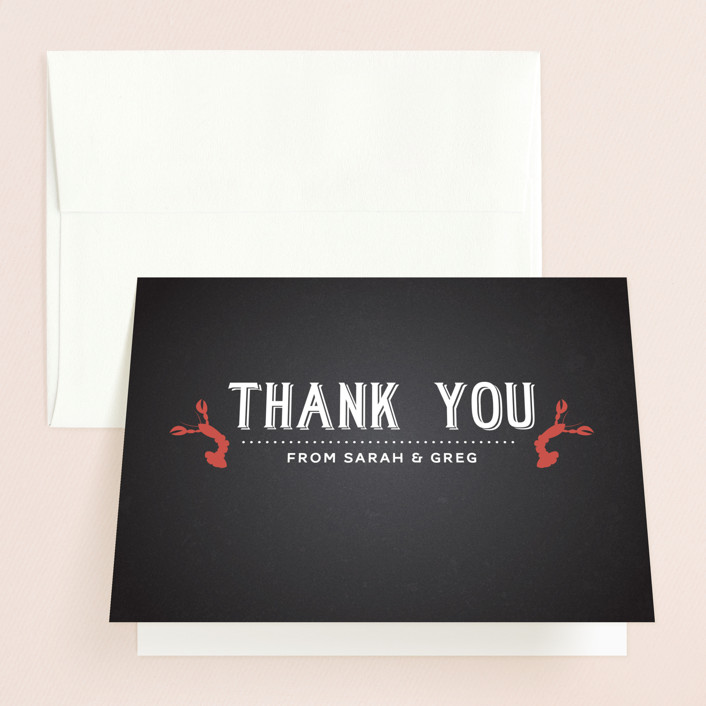 """Crawfish & Couples"" - Bridal Shower Thank You Cards in white by Lesa Abney."