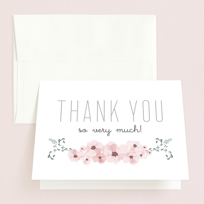 """Lovely Day"" - Bridal Shower Thank You Cards in grey 