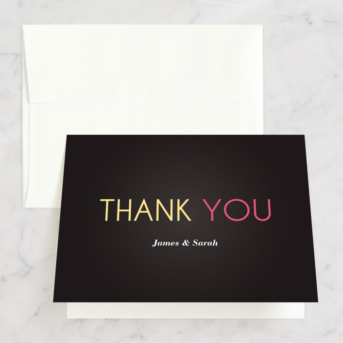 """His and Hers"" - Bridal Shower Thank You Cards in pink 