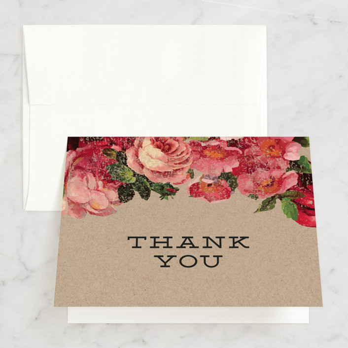"""The Porch"" - Bridal Shower Thank You Cards in pink 