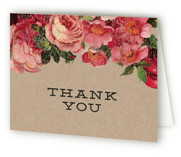This is a rose bridal shower thank you card by Susan Brown called The Porch with standard printing on strathmore in standard.