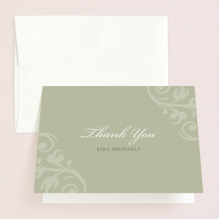 """""""chocolat et crème"""" - Bridal Shower Thank You Cards in green by Guess What Design Studio."""
