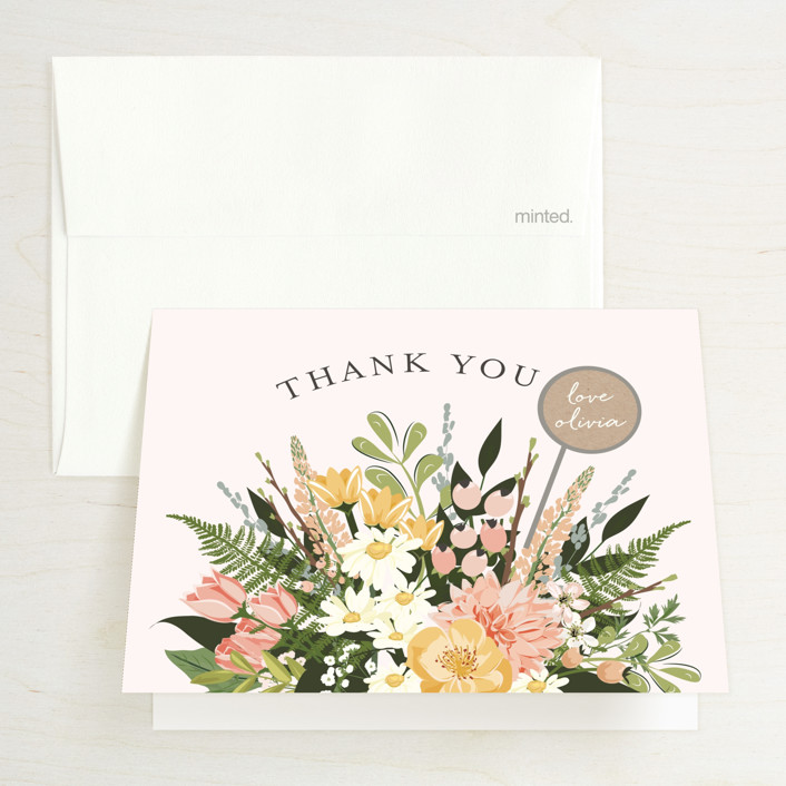 """""""Flowers & Greens"""" - Bridal Shower Thank You Cards in Blush by Susan Moyal."""