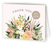 This is a colorful bridal shower thank you card by Susan Moyal called Flowers & Greens with standard printing on strathmore in standard.