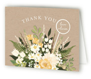 This is a brown bridal shower thank you card by Susan Moyal called Flowers & Greens with standard printing on strathmore in standard.