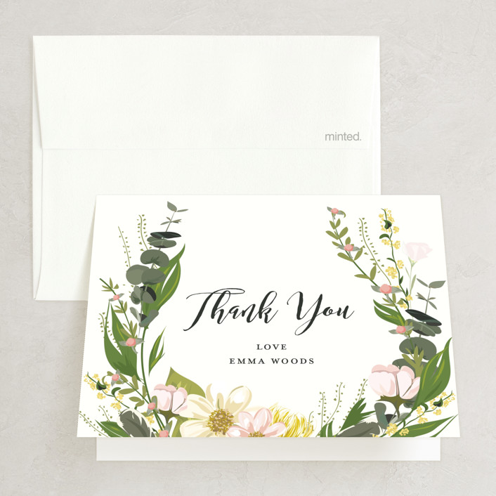"""Floral Love"" - Bridal Shower Thank You Cards in Blush by Susan Moyal."