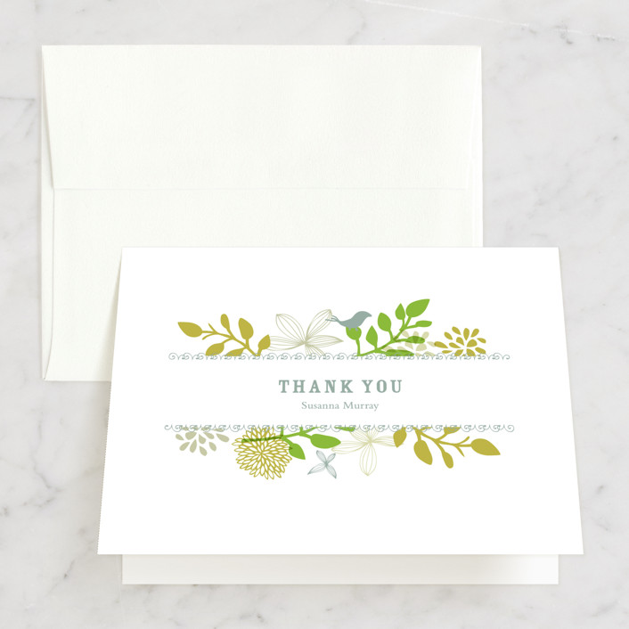 """""""Fling"""" - Bridal Shower Thank You Cards in green by Andrea Mentzer."""