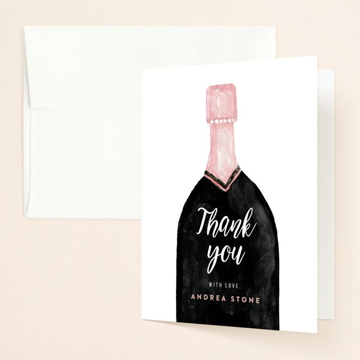 """""""champagne bottle"""" - Bridal Shower Thank You Cards in Snow by Cass Loh."""