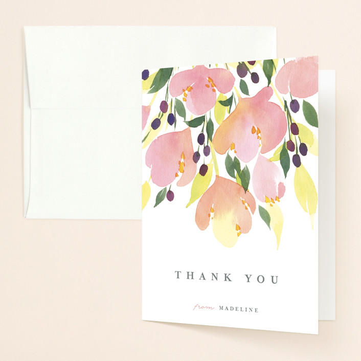 """Pink Blossoms"" - Bridal Shower Thank You Cards in Dusty Rose by Shannon Chen."