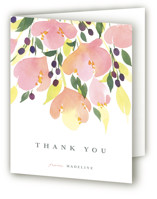 This is a pink bridal shower thank you card by Shannon Chen called Pink Blossoms with standard printing on strathmore in standard.