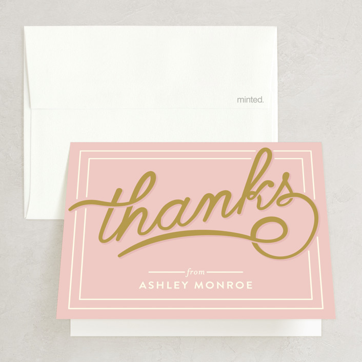 """Bubbly Brunch"" - Bold typographic, Whimsical & Funny Bridal Shower Thank You Cards in pink by GeekInk Design."