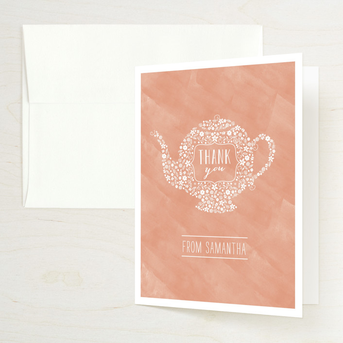 """""""Floral Tea"""" - Bridal Shower Thank You Cards in Salmon by Chasity Smith."""