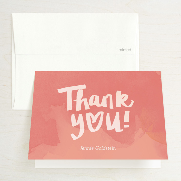 """""""Shower with Love"""" - Bridal Shower Thank You Cards in Peach by June Letters Studio."""