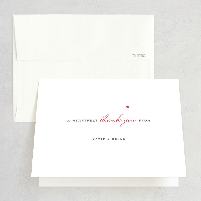 """""""Home Is Where the Heart Is"""" - Bridal Shower Thank You Cards in Cherry by Jennifer Postorino."""