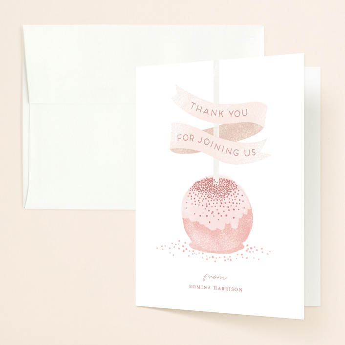 """Sweet Cake Pop"" - Bridal Shower Thank You Cards in Strawberry by iamtanya."