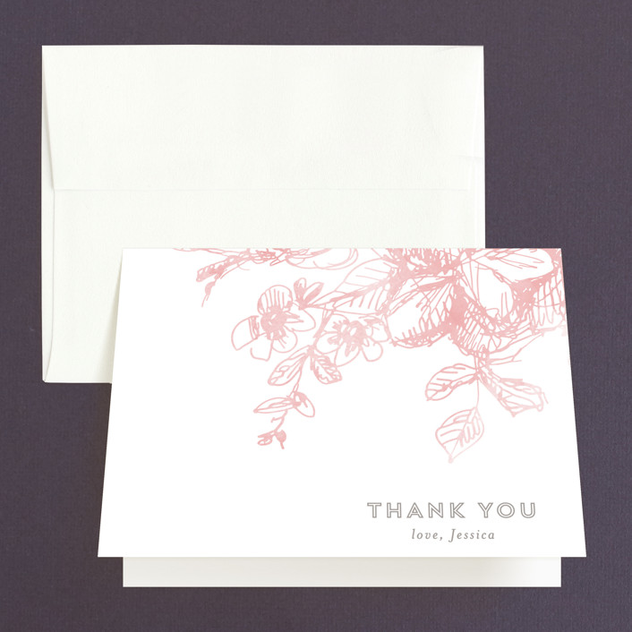 """""""Elegance Illustrated"""" - Rustic Bridal Shower Thank You Cards in pink by Phrosne Ras."""
