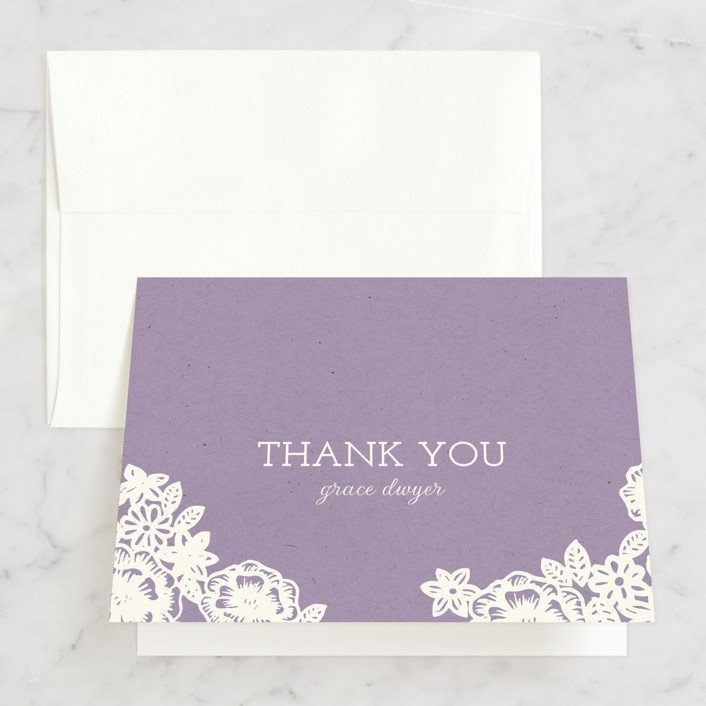 """""""Lace and Kraft"""" - Vintage, Floral & Botanical Bridal Shower Thank You Cards in brown by Katharine Watson."""
