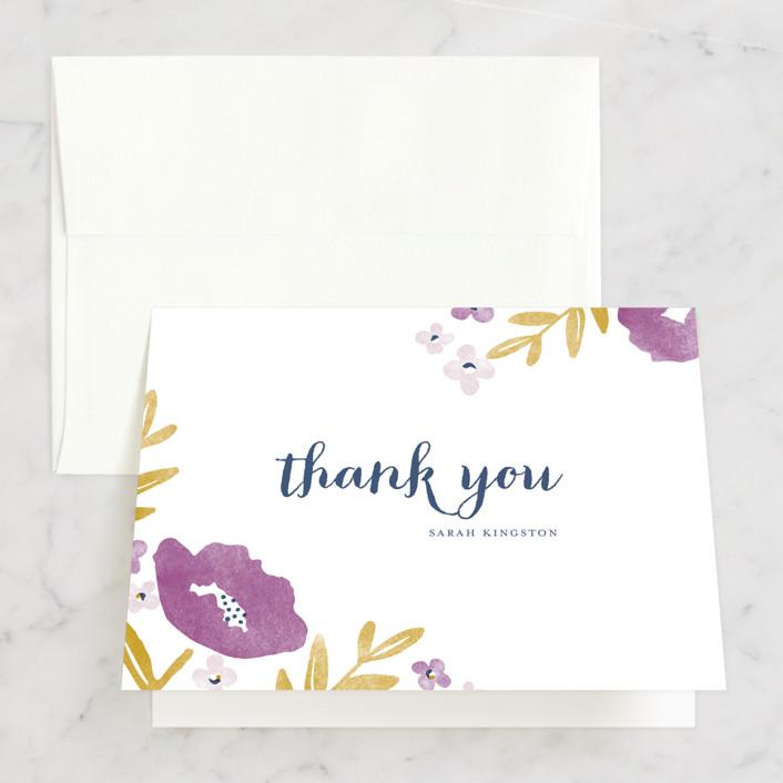 """""""Fresh Cut"""" - Bridal Shower Thank You Cards in purple by Oscar & Emma."""
