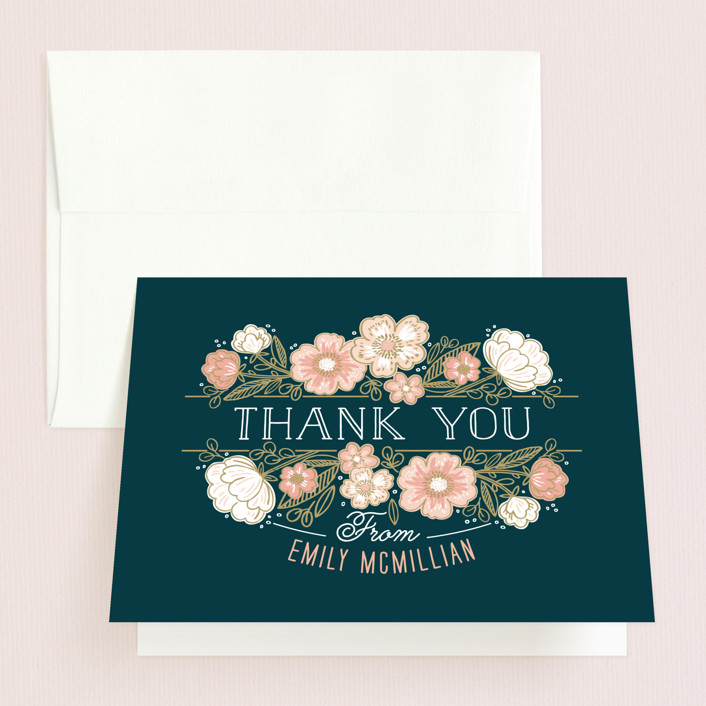 """Country Florals"" - Bridal Shower Thank You Cards in blue by Alethea and Ruth."