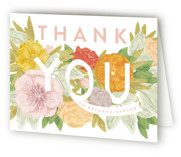 This is a green bridal shower thank you card by Shiny Penny Studio called Floral Bride Banner with standard printing on strathmore in standard.