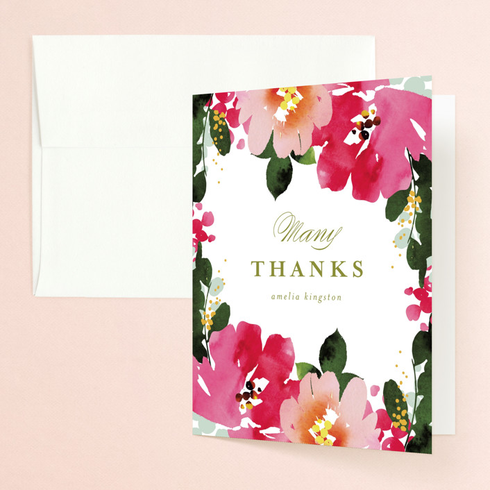 """""""Vivacious"""" - Bridal Shower Thank You Cards in Peony by Angela Marzuki."""
