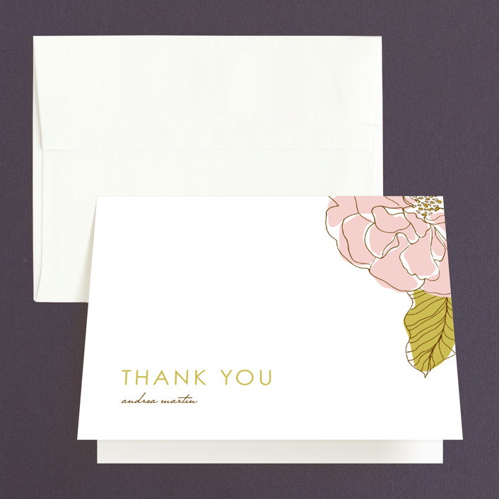 """""""Simple Sophisticate"""" - Bridal Shower Thank You Cards in pink by Oscar & Emma."""