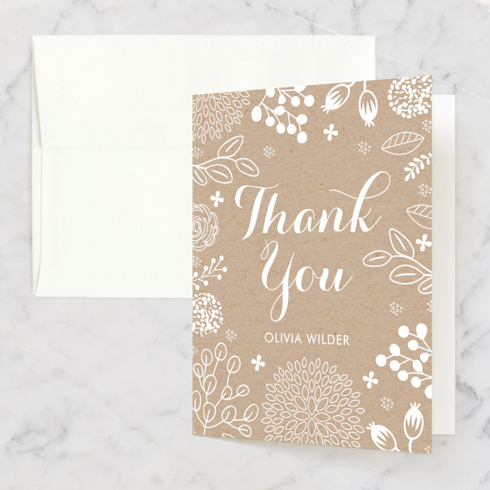 """""""White on Kraft"""" - Bridal Shower Thank You Cards in brown by Clair Landers."""