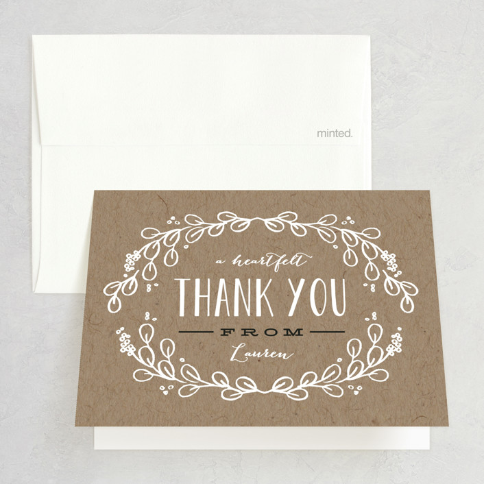 """Kraft Circle"" - Bridal Shower Thank You Cards in brown by Alethea and Ruth."
