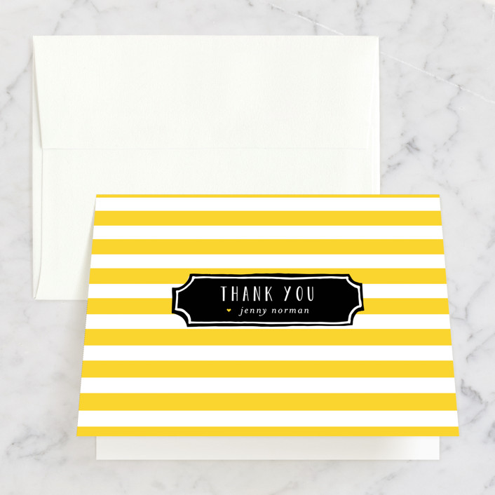 """""""Lemonade"""" - Bridal Shower Thank You Cards in yellow by Susan Brown."""