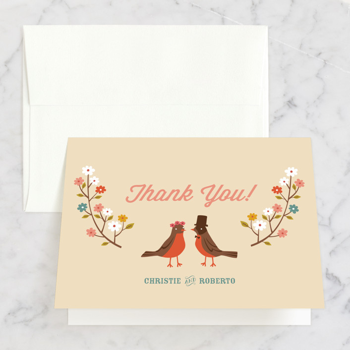 """Robin's Garden Couple"" - Bridal Shower Thank You Cards in beige by Irene Chan."
