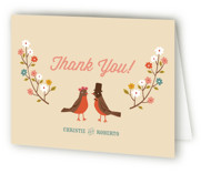 This is a eggshell bridal shower thank you card by Irene Chan called Robin's Garden Couple with standard printing on strathmore in standard.