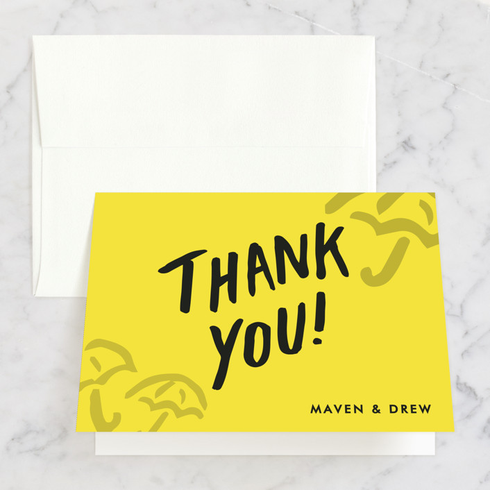 """Drawn With Love"" - Bridal Shower Thank You Cards in yellow by Viv Jordan."