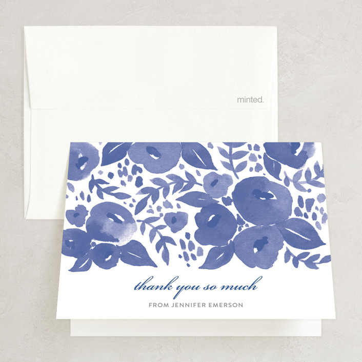 """""""Blue Blossoms"""" - Floral & Botanical Bridal Shower Thank You Cards in blue by Four Wet Feet Studio."""