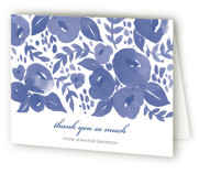This is a lavender bridal shower thank you card by Four Wet Feet Studio called Blue Blossoms with standard printing on strathmore in standard.