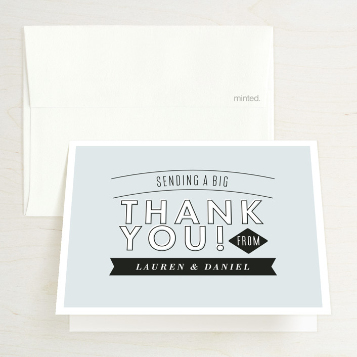 """Clean Cut"" - Bold typographic, Modern Bridal Shower Thank You Cards in blue by Alethea and Ruth."