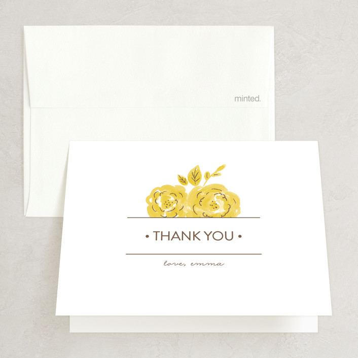 """Summer Blooms"" - Modern, Floral & Botanical Bridal Shower Thank You Cards in yellow by Olive and Me Studios."
