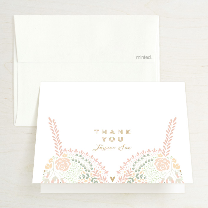 """Pretties"" - Bridal Shower Thank You Cards in green by Phrosne Ras."