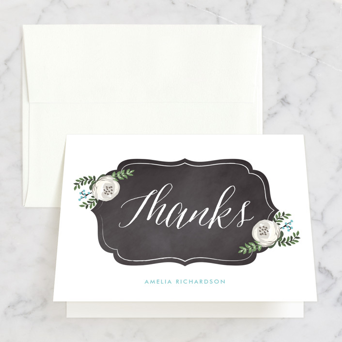 """Chalkboard Florals"" - Bridal Shower Thank You Cards in blue by Lehan Veenker."