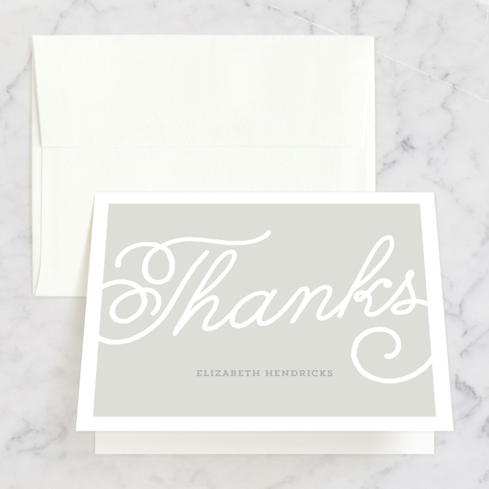 """Modern Script"" - Bridal Shower Thank You Cards in grey by Dulce Dahlia."