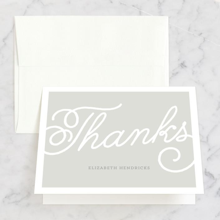 """Modern Script"" - Bridal Shower Thank You Cards in grey by Sarah DeWitt."