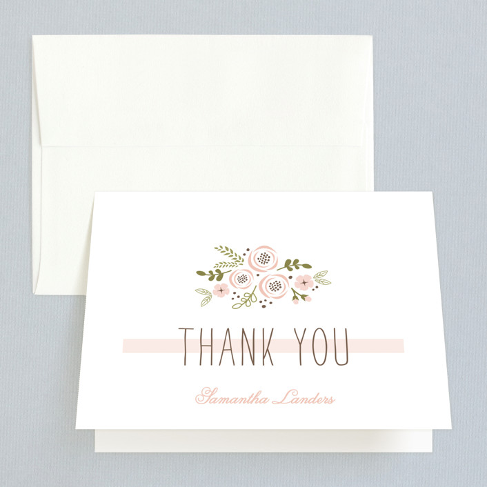 """Soft Florals"" - Bridal Shower Thank You Cards in pink by Chasity Smith."