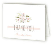 This is a blush bridal shower thank you card by Chasity Smith called Soft Florals with standard printing on strathmore in standard.