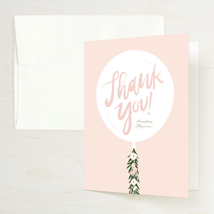 """Garden Balloon"" - Bridal Shower Thank You Cards in Blush by Itsy Belle Studio."